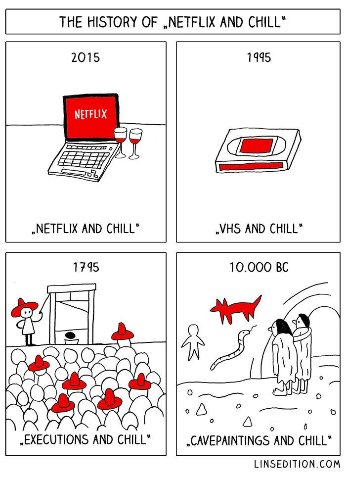 web comics netflix and chill Humans Have Been Chilling Since Prehistoric Times