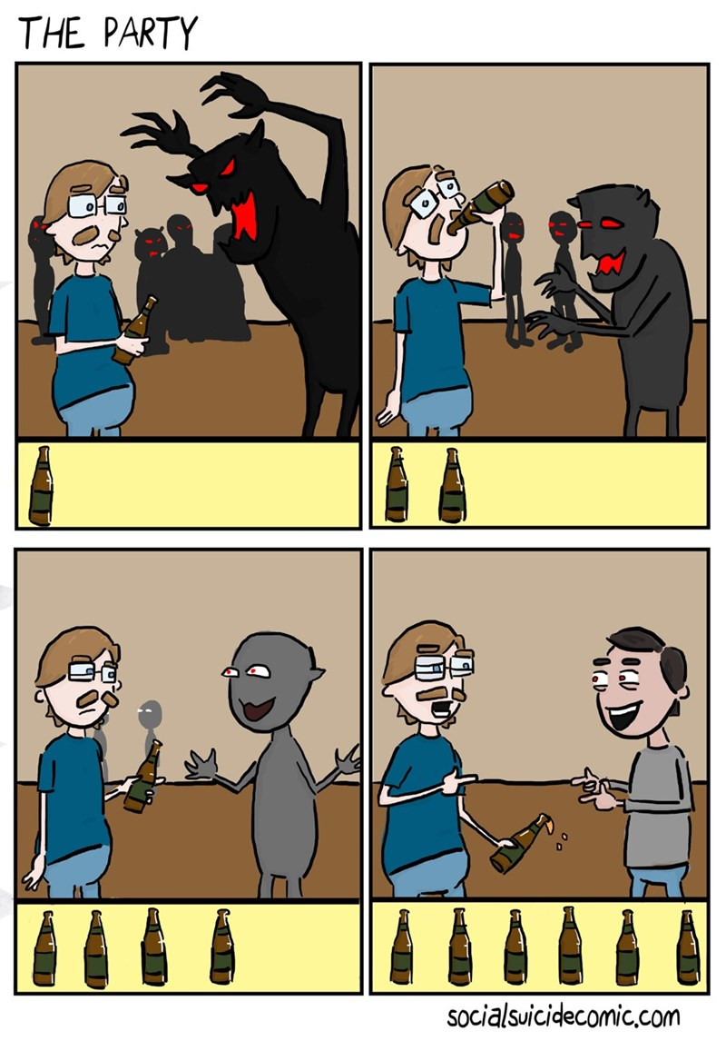 web comics social anxiety Well That's One Way to Face Your Demons