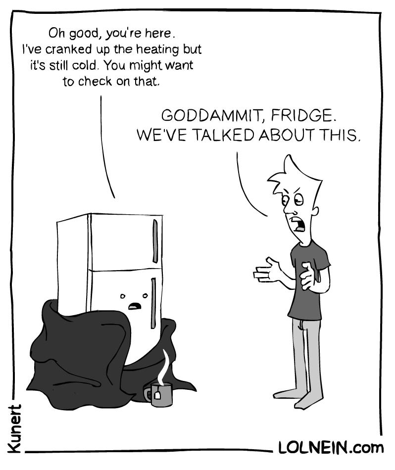 web comics roommates You Have a Job to Do Fridge!