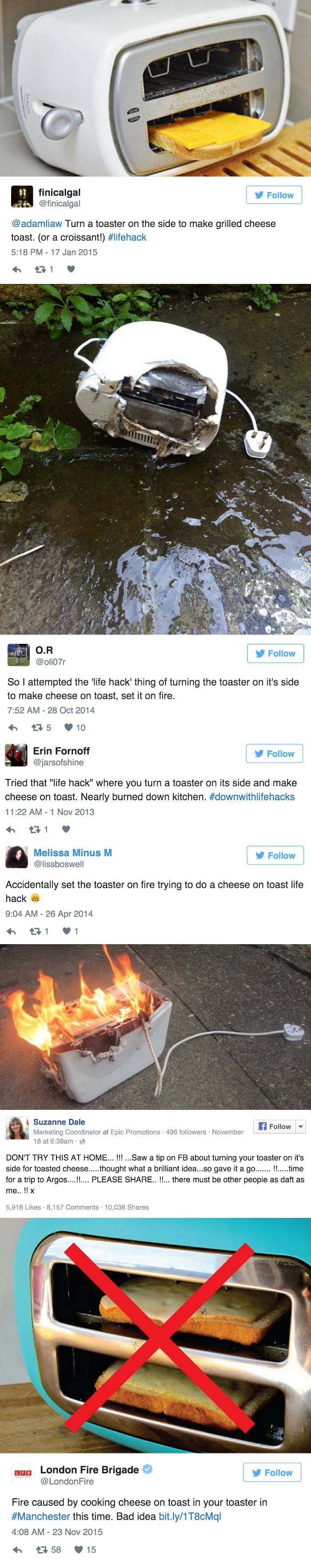 funny fail tweet london fire brigrade tweets this grilled cheese life hack is toast