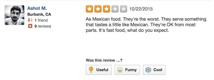 chipotle reviews Ashot Clearly Did Expect More From Fast Food