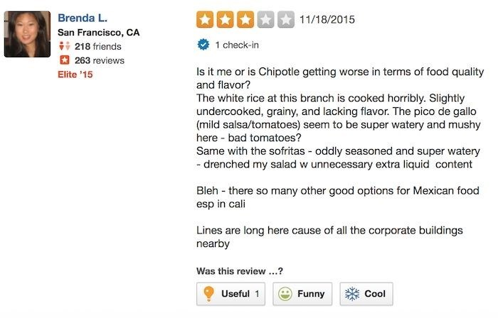 chipotle reviews Brenda has Been Keeping Tabs and Noticing the Decline