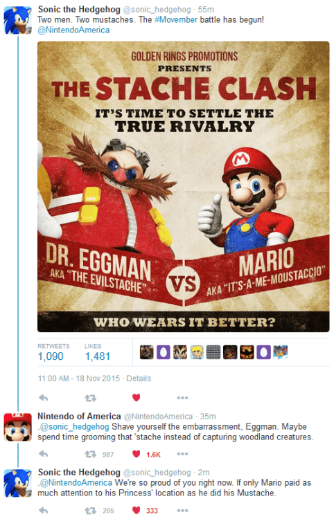 video games sonic mario twitter fight mustaches