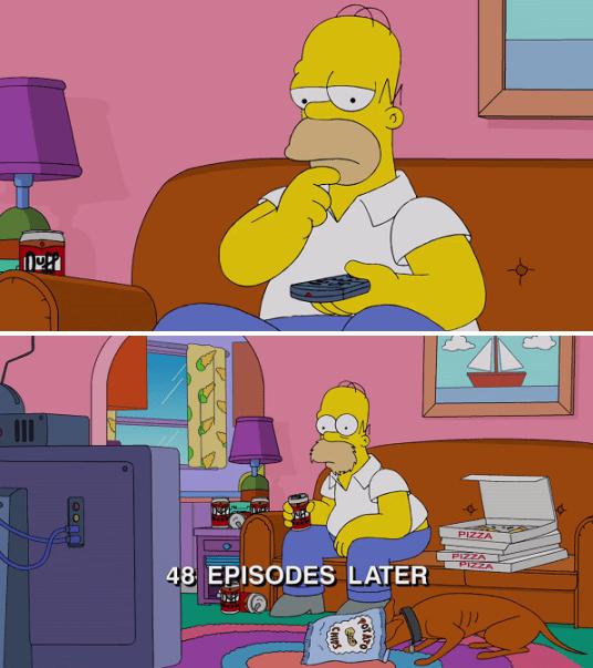 cartoon memes home simpson binge watching
