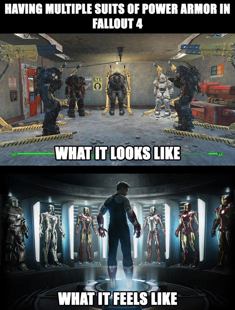 Funny meme showing the correlation between how it feels to be Tony Stark from Iron Man and the sensation of having multiple suits available in Fallout 4