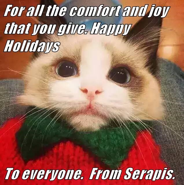For all the comfort and joy that you give. Happy Holidays  To everyone.  From Serapis.