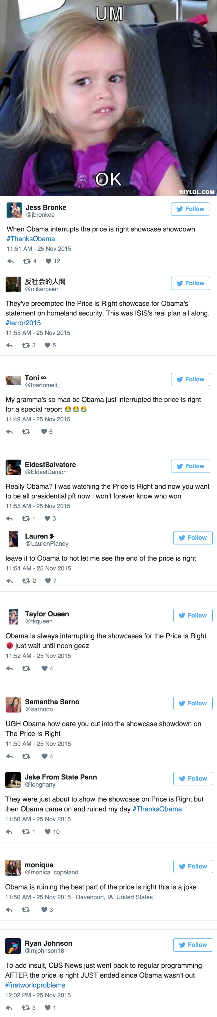 social media fail POTUS interrupts ending of Price is Right and pays a price on Twitter
