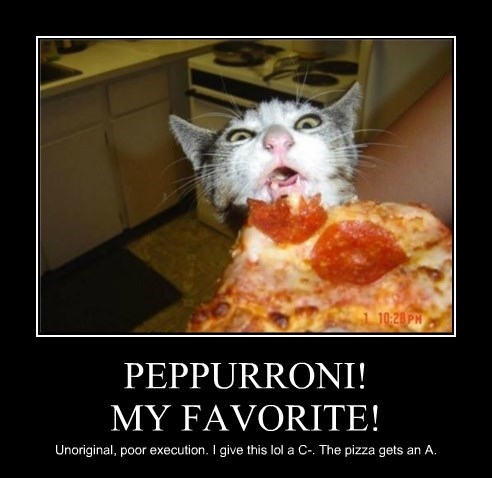 pizza pepperoni eating caption Cats funny - 8589007616