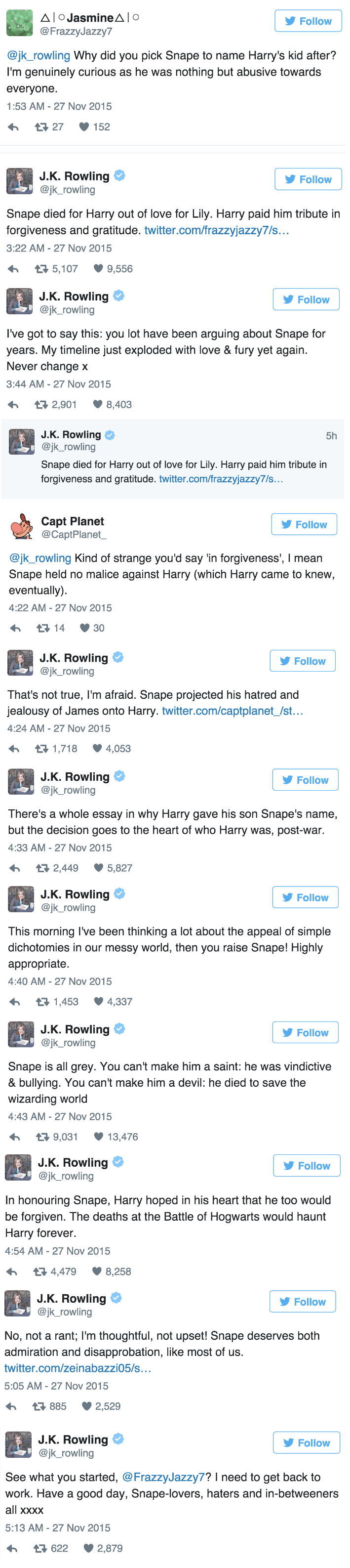 harry potter tweets J.K. Rowling Puts to Bed Why Harry Named His Kid After Snape