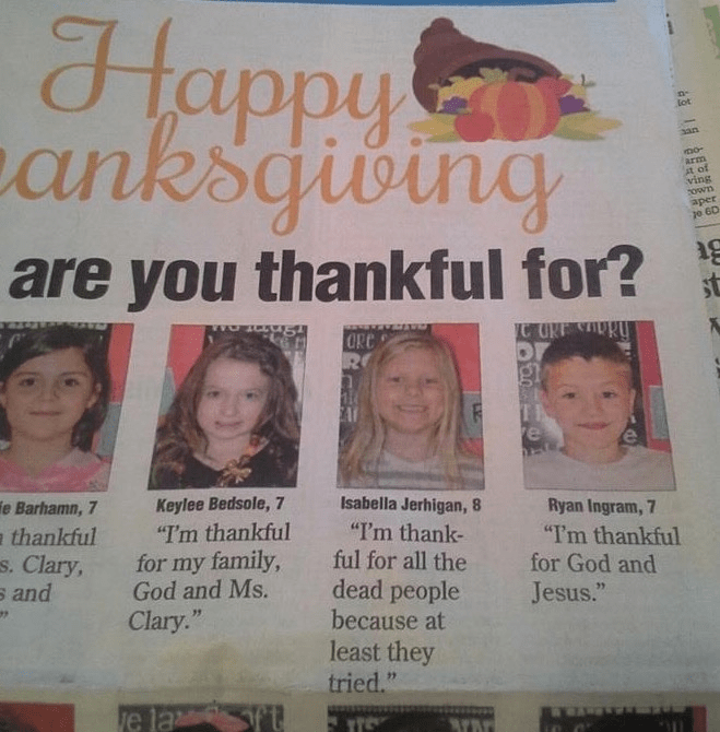 funny fail classic kids in newspaper being thankful
