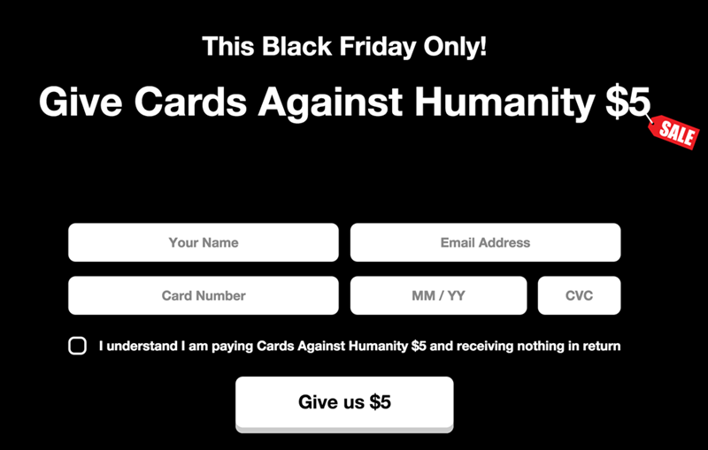 troll of the day cards against humanity selling nothing for black friday