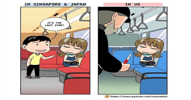 US Japan and Singapore compared in comics