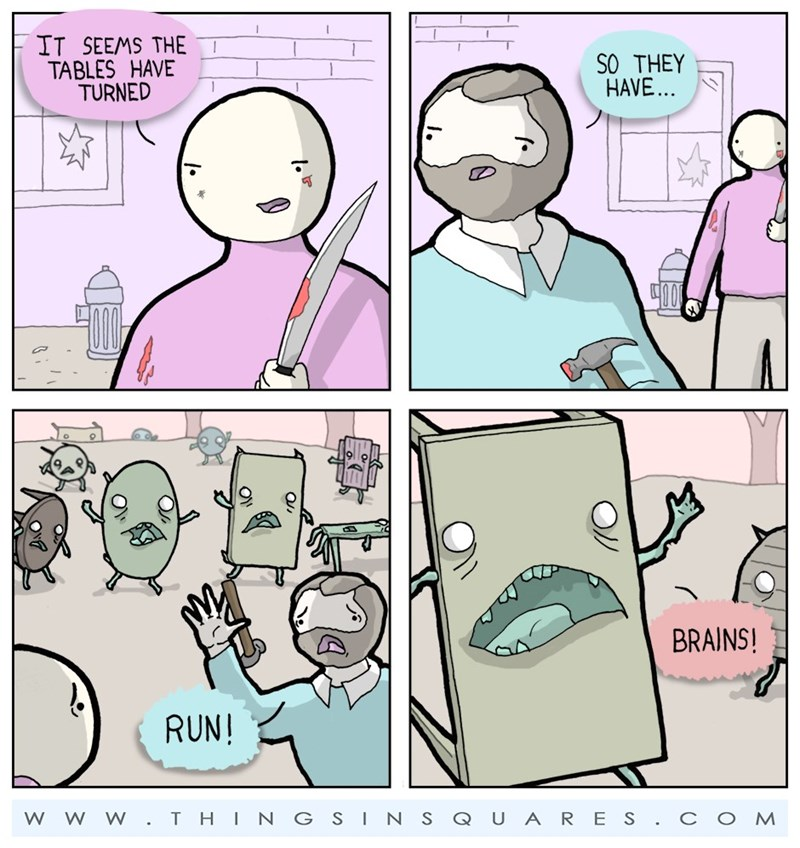 web comics zombie puns Try Shooting Them in the Legs