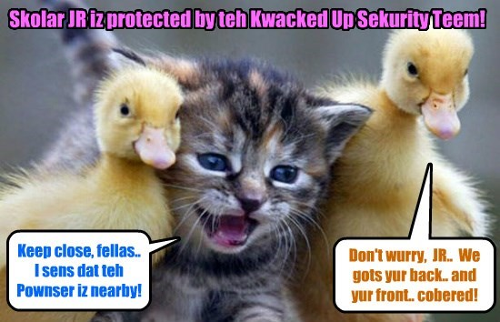 KKPS 2015: Habing ben unscrupulously pownsed on by a mysterious stranjer who habs thus far escaped deteckshun, Skolar JR takes eggstreme prekaushuns to avoid being pownsed on agin!