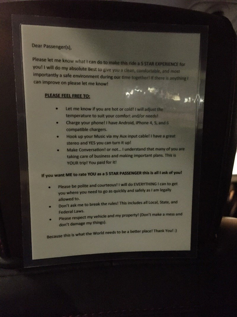 uber driver posts sign to get 5 star rating and how to get one as a passenger