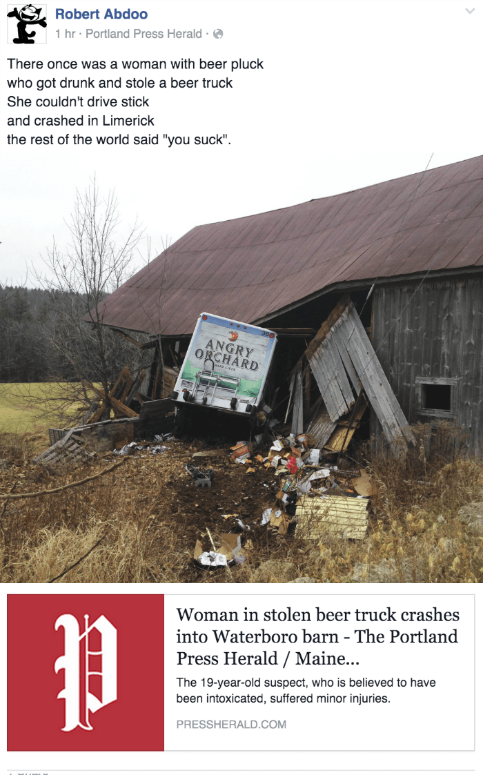 funny fail news woman steals and crashes cider truck into barn in Maine
