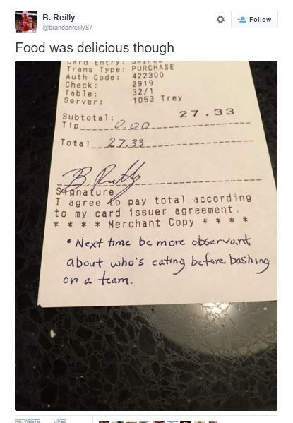 social media fail Nebraska football player stiffs waitress' tip b/c she trash talked their season