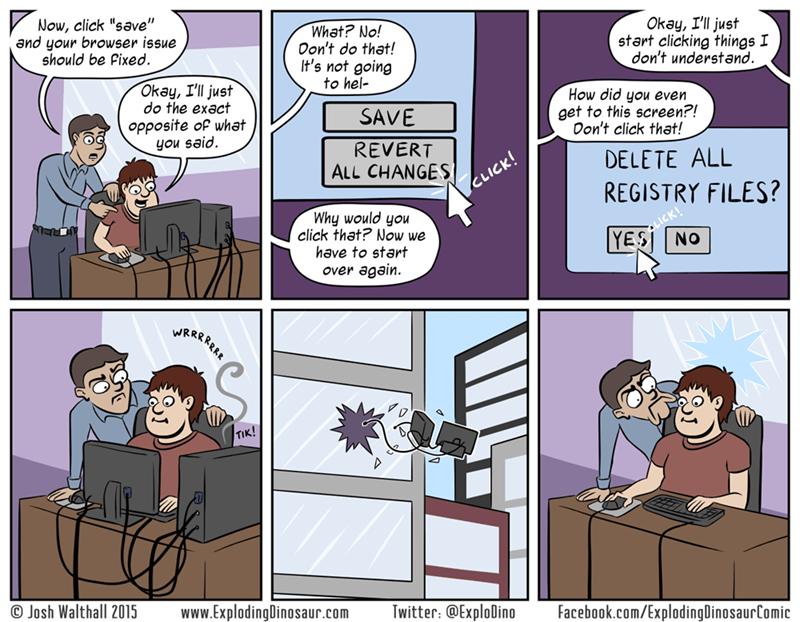 web comics computer help Tech Support Needs Support