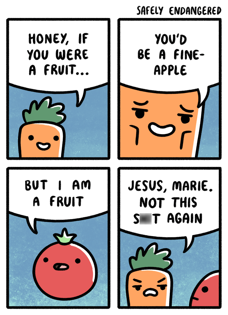 web comics fruits vegetables You Don't Even Know Me!
