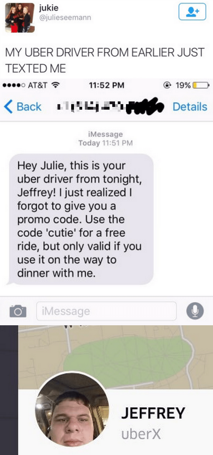 funny fail image uber driver texts horrible pick up line