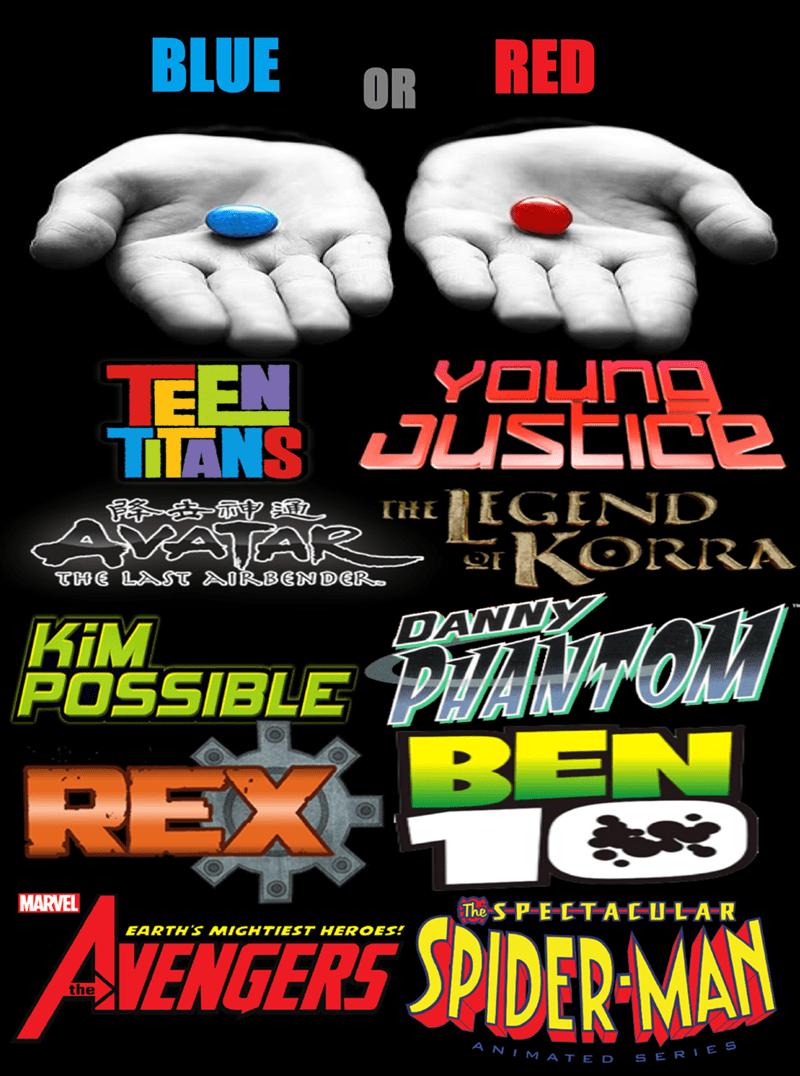 cartoon memes red or blue pill