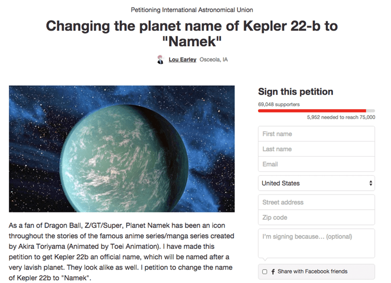 Honor DBZ With a Planet Named for Namek