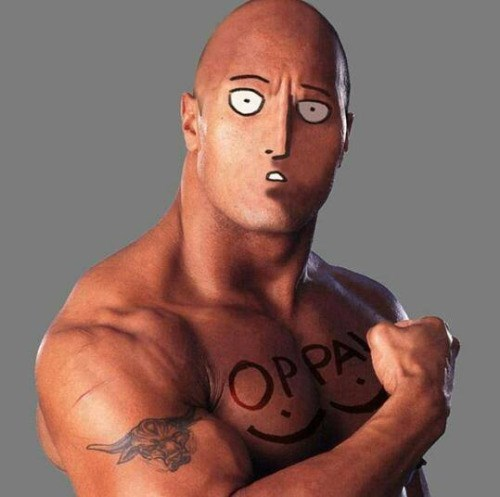 anime memes one punch man the rock