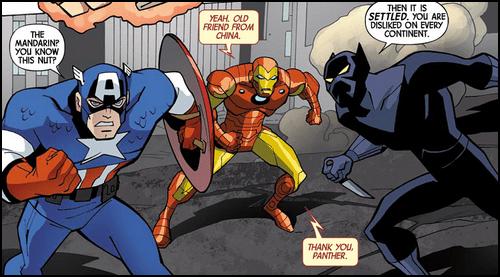 comics iron man plack panther ouch