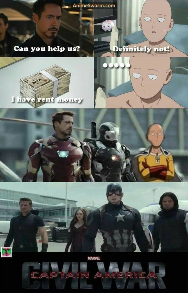 crossover anime one punch man captain america civil war avengers - 8592023296