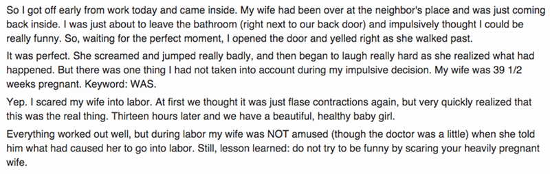 funny fail story man scares his wife into labor