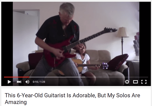 this six year old guitarist is adorable but my solos are amazing