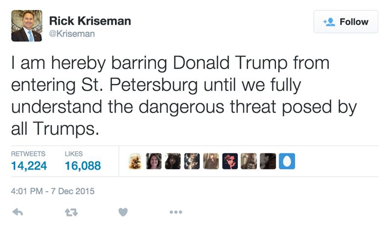 social media win mayor bans Donald Trump from florida city after Trump's remarks