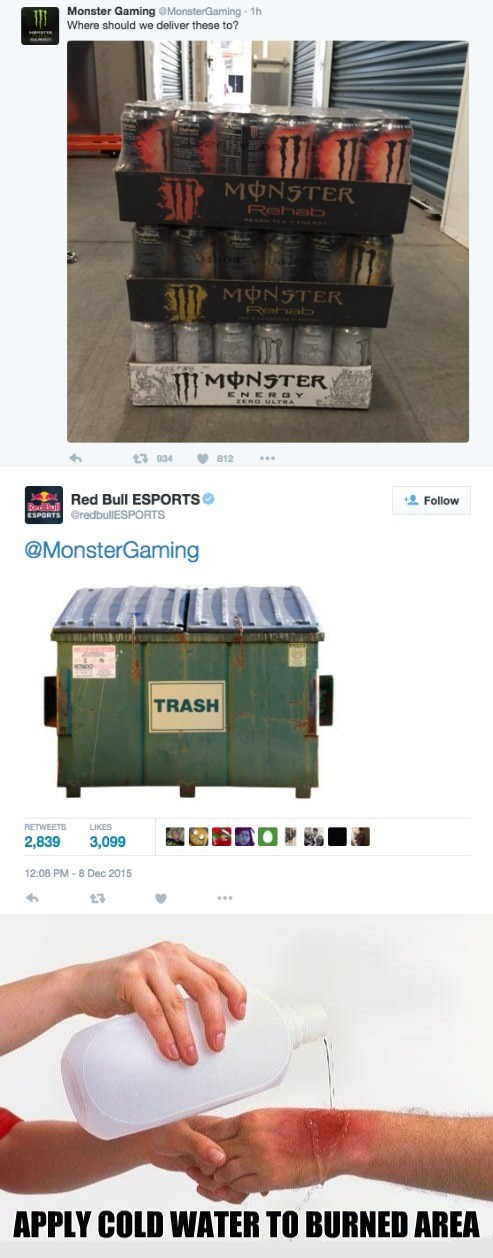 twitter fight monster gaming red bull esports sick burn