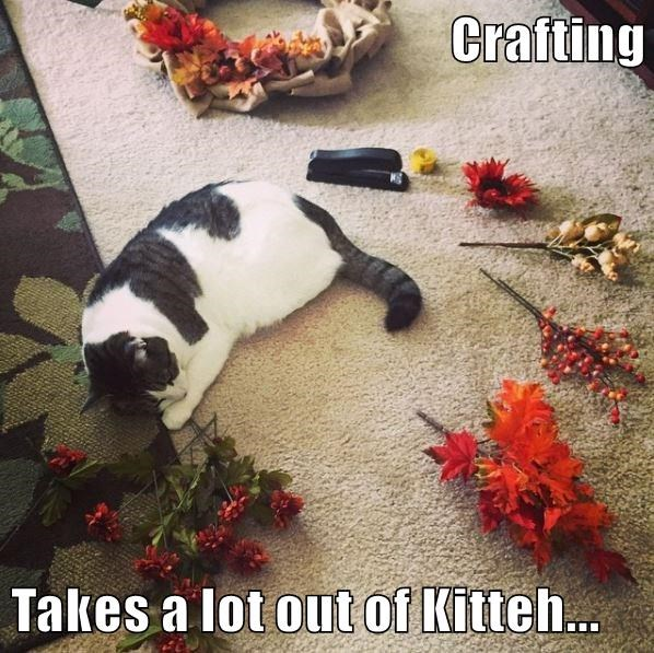 Crafting  Takes a lot out of Kitteh...