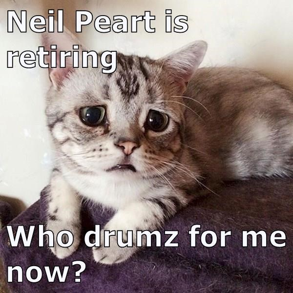 Neil Peart is retiring  Who drumz for me now?