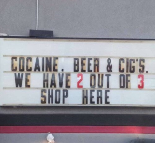 funny memes coke beer and cigs sign