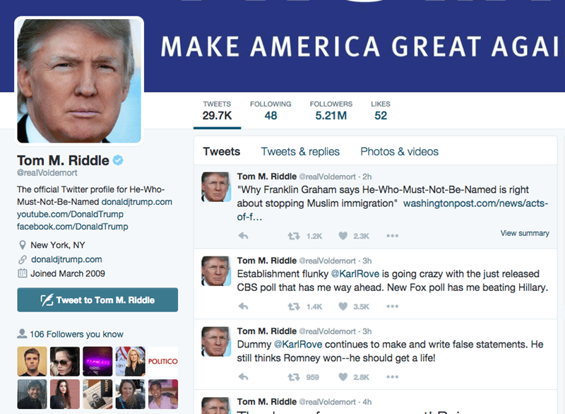 donald trump chrome extention Make America Great Again by Replacing All Donald Trump References on the Internet With Voldemort Using This Handy Chrome Extension