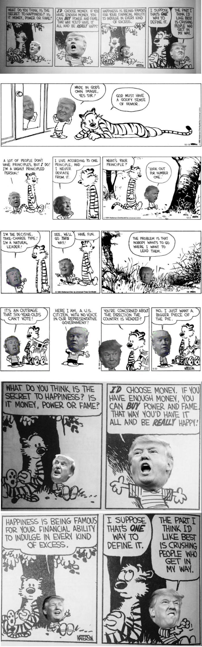 funny political comic strips Donald Trump fits seamlessly into Calvin and Hobbes Comics creating Donald and Hobbes