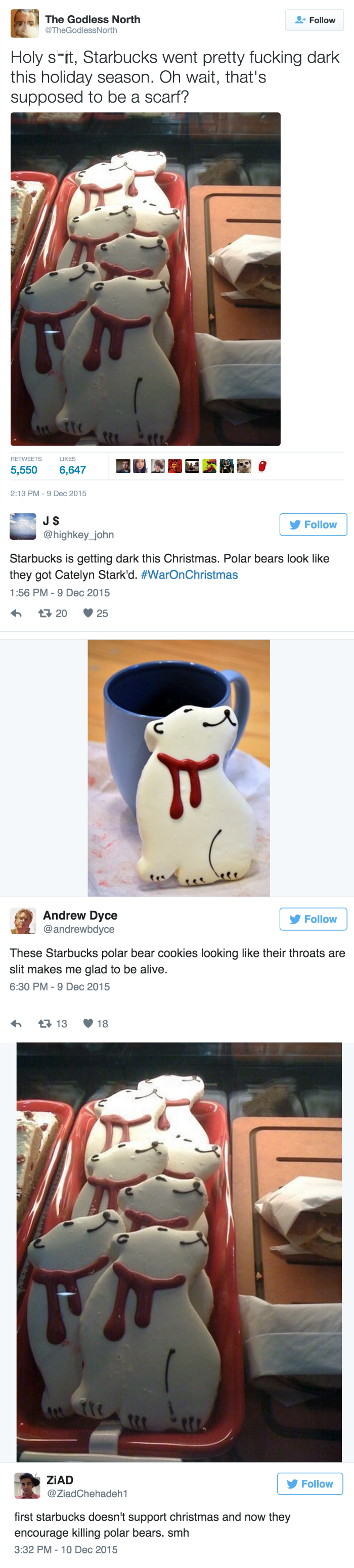 funny fail image you can't unsee Starbucks Polar Bear cookies with slit throats