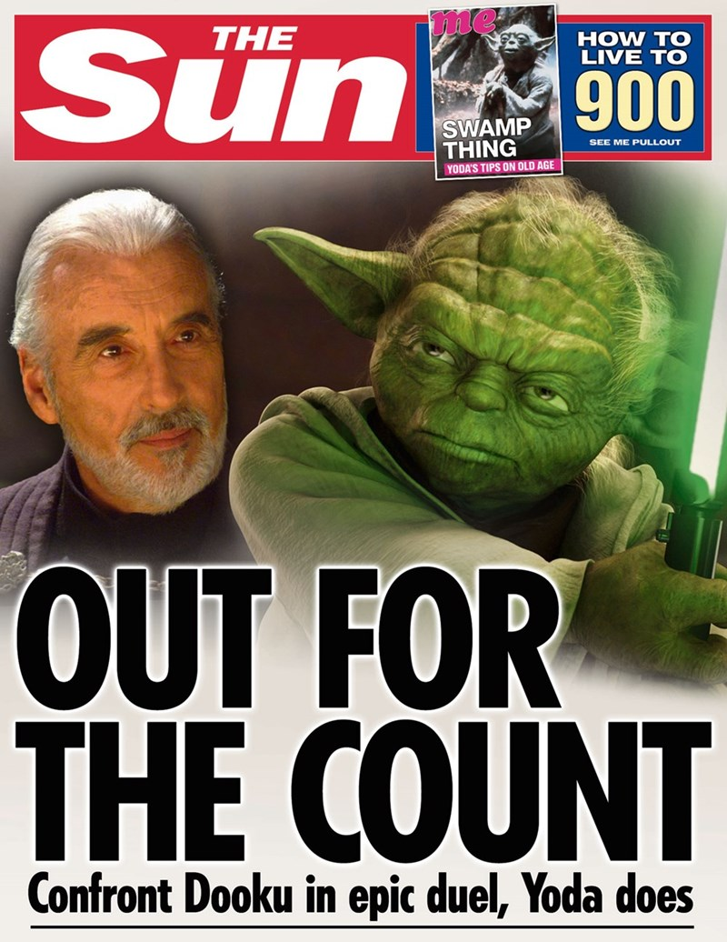 star wars - Fictional character - me Sun THE HOW TO LIVE TO 900 SWAMP THING SEE ME PULLOUT YODA'S TIPS ON OLD AGE UT FOR THE COUNT Confront Dooku in epic duel, Yoda does