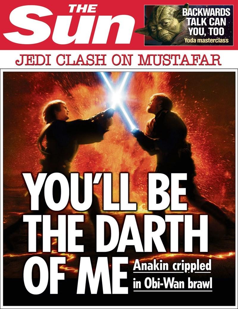 star wars - Poster - Sun THE BACKWARDS TALK CAN YOU, TOO Yoda masterclass JEDI CLASH ON MUSTAFAR YOU'LL BE THE DARTH OF ME Anakin crippled in Obi-Wan brawl