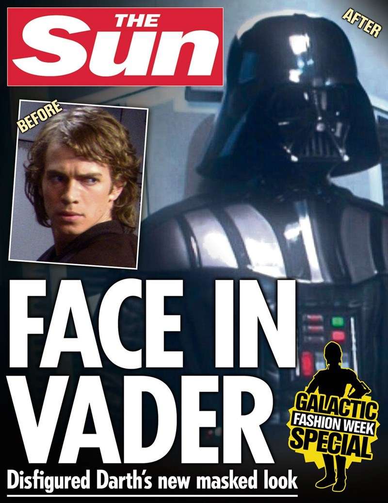 star wars - Fictional character - AFTER Sün THE BEFORE FACE IN VADER GALACTIC FASHION WEEK SPECIAL Disfigured Darth's new masked look