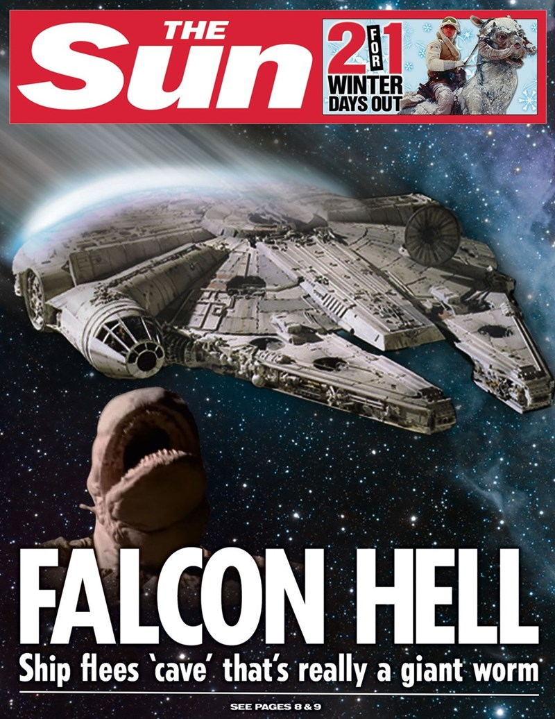 star wars - Poster - 2 11 THE Sun WINTER DAYS OUT FALCON HELL Ship flees 'cave that's really a giant worm SEE PAGES 8 & 9 FOR