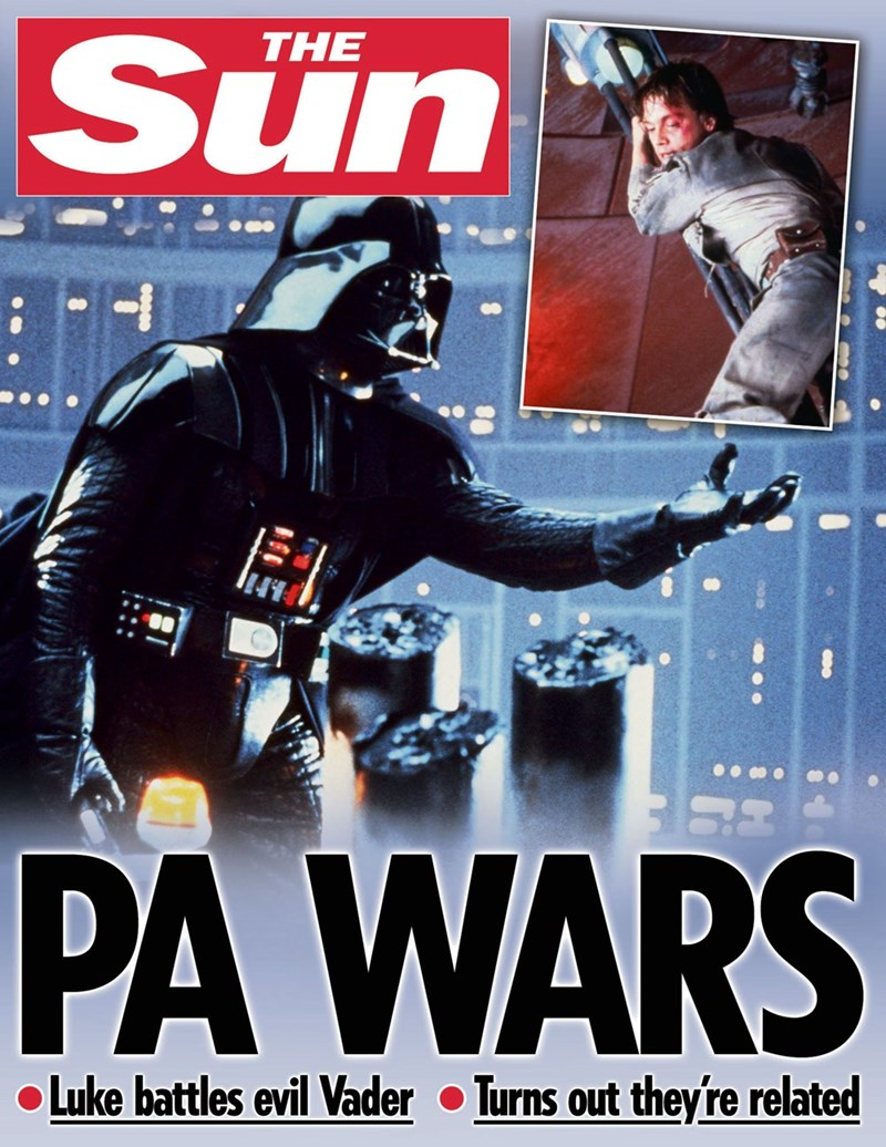 star wars - Poster - Sun THE PA WARS Luke battles evil Vader Turns out theyfre related