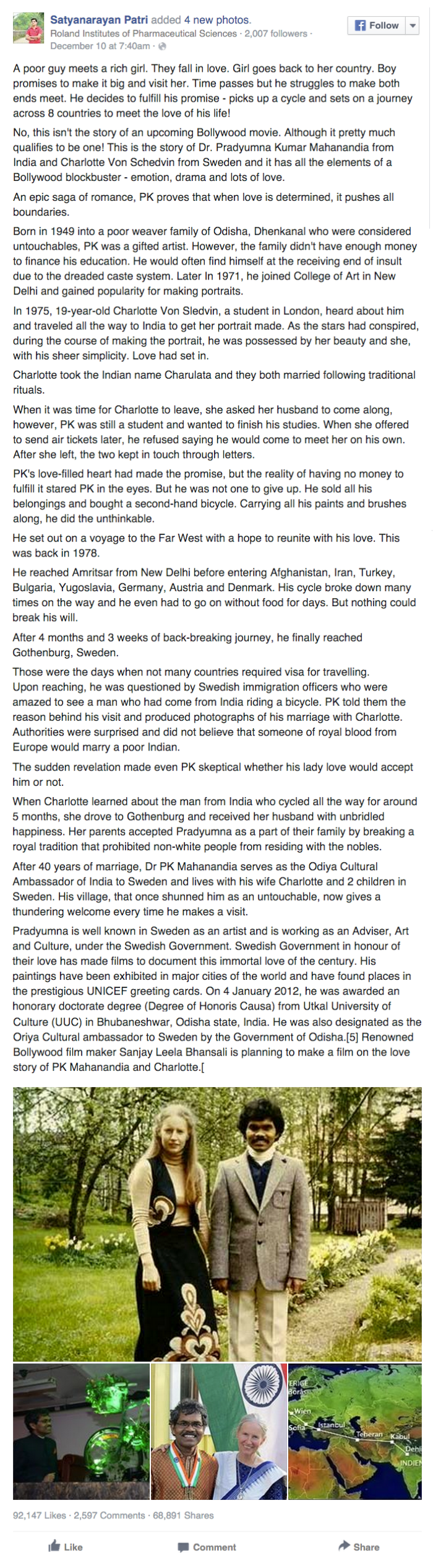 This Long Love Story About A Husband Cycling From India To Sweden For His Wife is Worth the Happy Tear You'll Have By the End