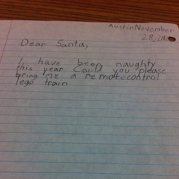Handwriting - AustinNovernber 28,2012 Dear Santa, aughte have this yea re motecon tro a, Gura ego train
