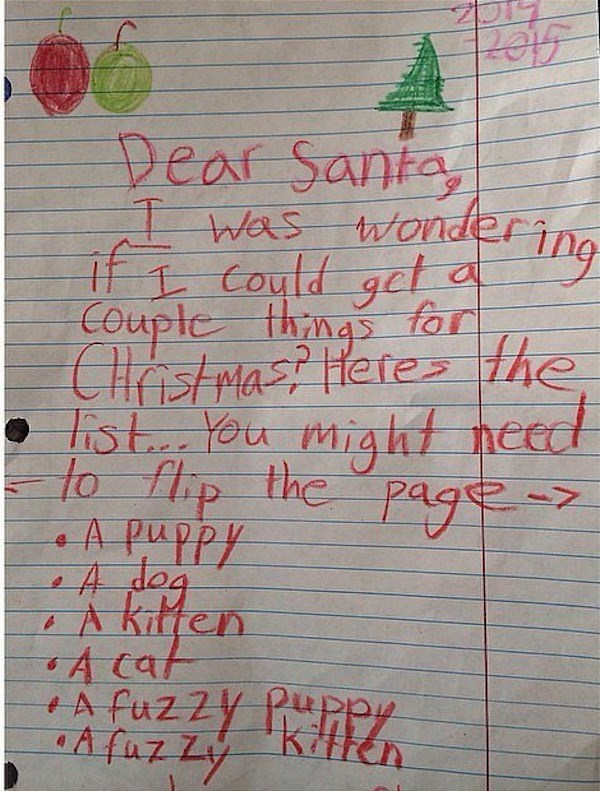 Text - Peaf Santa Was wonder if Could get Coupte thns for CHistmast Hete the hstYou might nee to flp the pag A PuPPY A kitten A cat A faz Zy