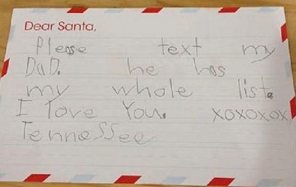 Handwriting - Dear Santa, text he Plese Da Tis ta XOxOxox whole AM ITore You Tenneee