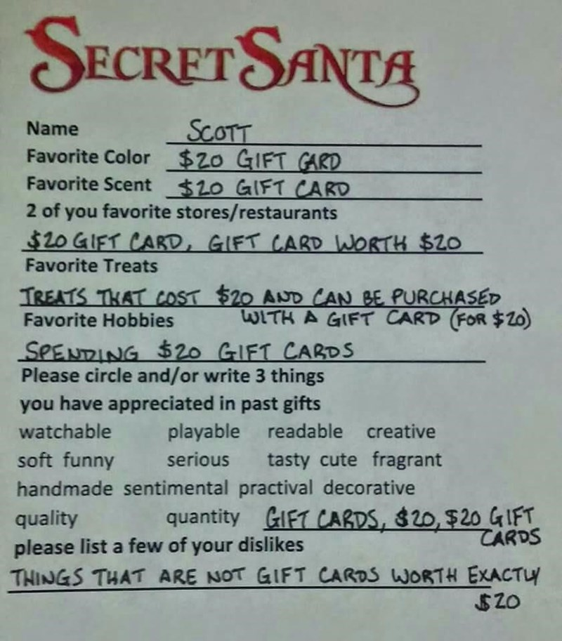 christmas memes secret santa gift card request