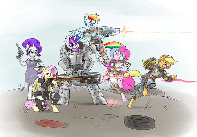 applejack fluttershy pinkie pie twilight sparkle rarity fallout rainbow dash fallout 4 - 8594924032